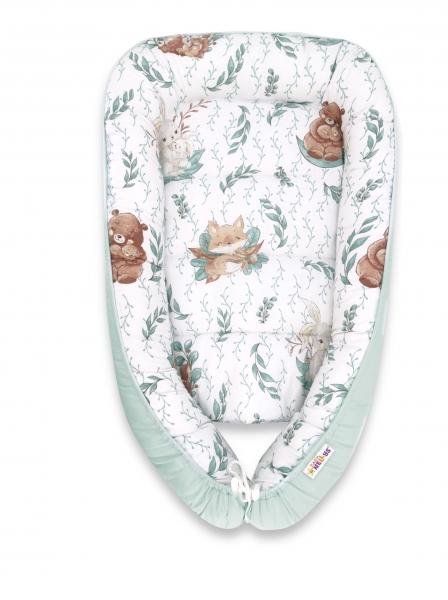 Baby Nellys Bavlněné oboustranné hnízdečko , 55x75cm, LULU natural - mátová
