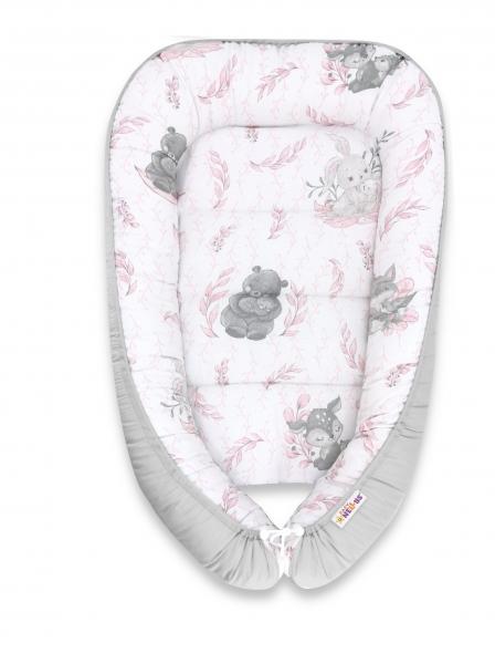 Baby Nellys Bavlněné oboustranné hnízdečko , 55x75cm, LULU natural - růžová, šedá