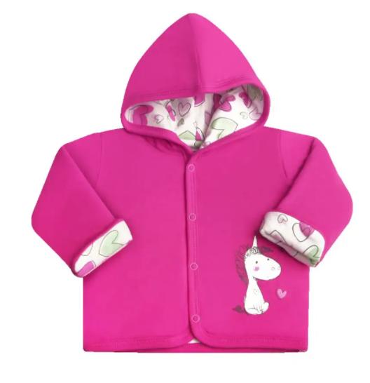 Nini Kojenecký kabátek, bundička s kapucí Jednorožec - růžová