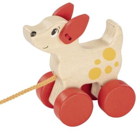Goki Edukační dřevěná hračka 10 cm tahací - Pejsek