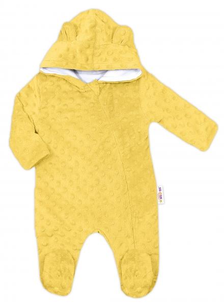 Baby Nellys Kombinézka/overálek MINKY s kapucí a oušky - žlutá, vel. 68