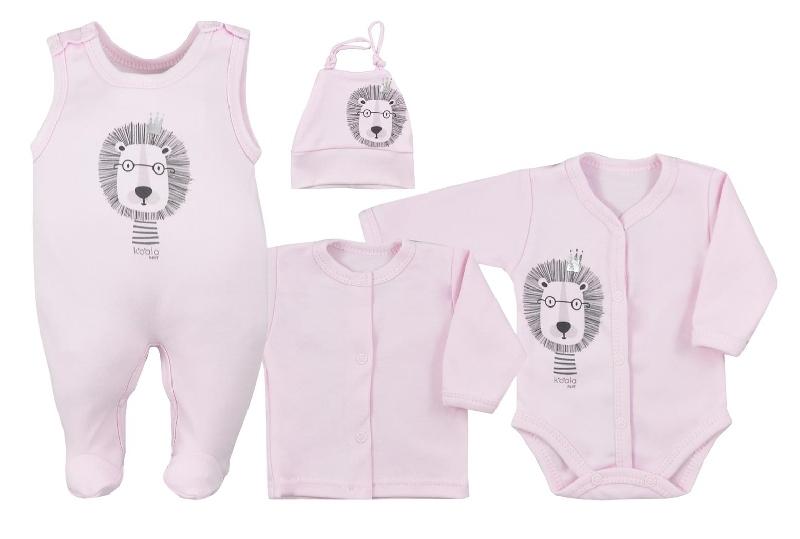 Koala Baby 4-dílná bavlněná soupravička do porodnice Simba - růžová, vel. 62