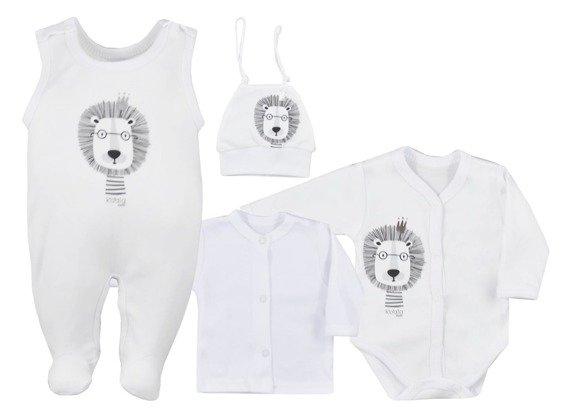 Koala Baby 4-dílná bavlněná soupravička do porodnice Simba - bílá, vel. 62