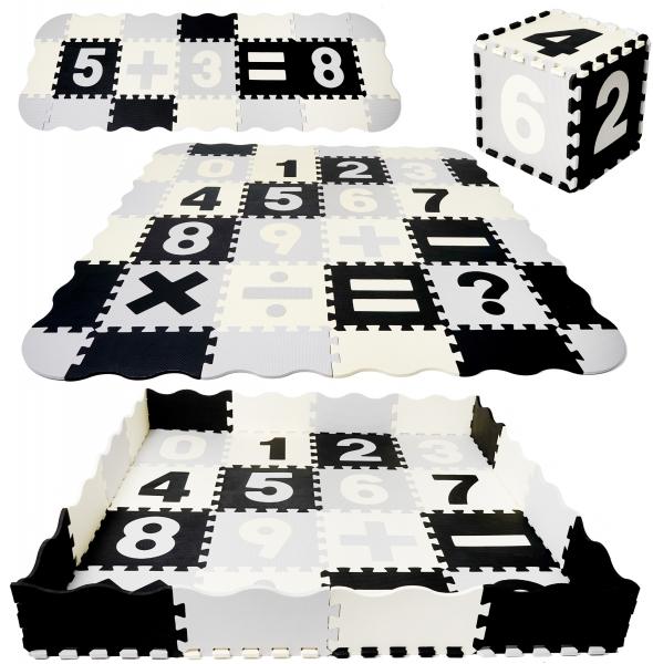 TULIMI Dětské pěnové puzzle 150x150cm, hrací deka, podložka na zem XXL - čísla, 56 dílů