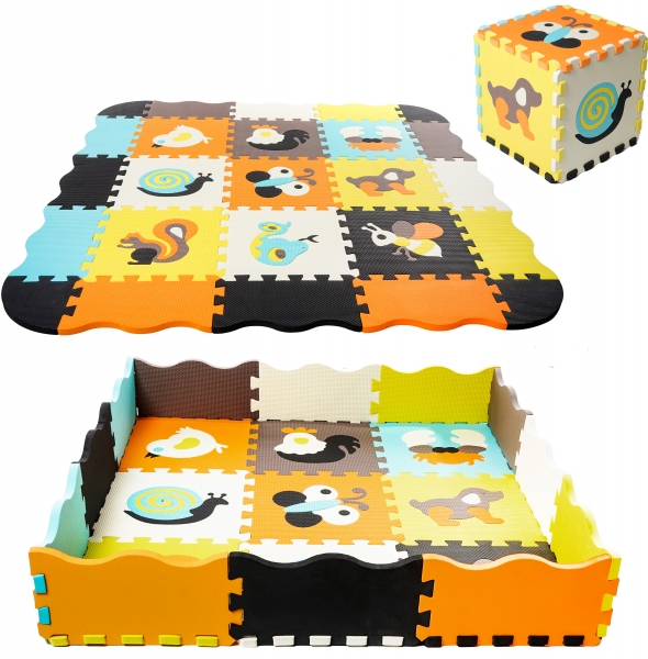 TULIMI Dětské pěnové puzzle 115x115cm, hrací deka, podložka na zem - barevná zvířátka