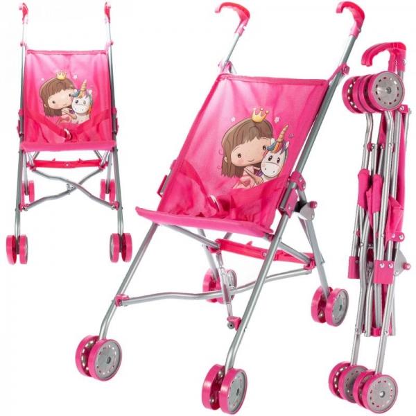 Tulimi Sportovní kočárek pro panenky Unicorn - růžový