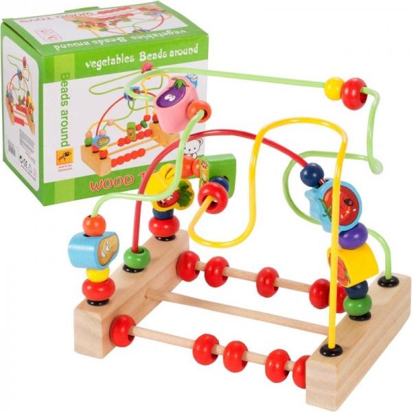 Tulimi Edukační labyrint s počítadlem a dřevěnými prvky - Zelenina