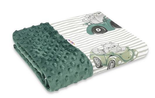Baby Nellys Bavlněná deka s Minky 100x75cm, Baby Car - zelená