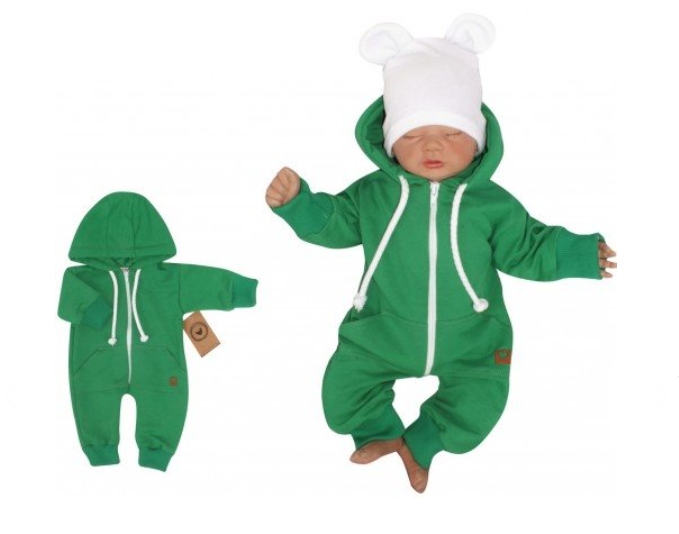 Z&Z Dětský teplákový overálek s kapucí, zelený, vel. 62