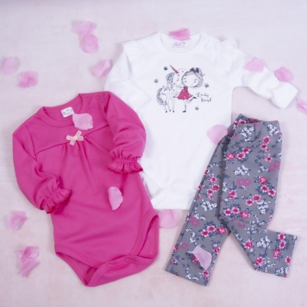 K-Baby 3-dílná sada, 2x body dlouhý rukáv, legíny - Unicorn, růžová, bílá, šedá, vel. 68