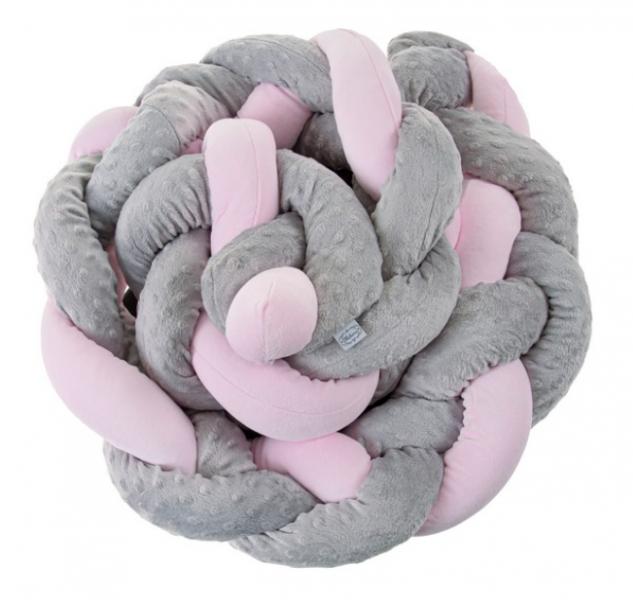 Belisima Mantinel - pletený cop minky - šedý/růžový