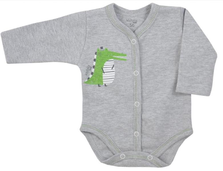 Koala Baby body s dlouhým rukávem Tasmánie - Krokodýl, šedý melírek, vel. 68, Velikost: 68 (4-6m)