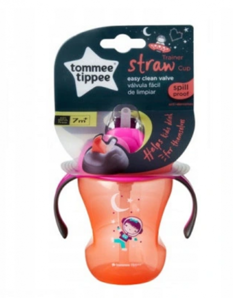 Tommee Tippee Nekapající hrneček s brčkem easy drink 230ml - růžový
