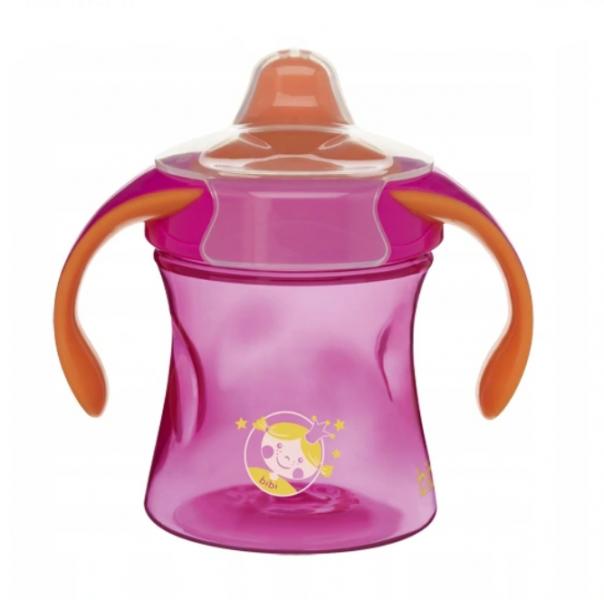 Bibi Nekapající tréningový hrneček Basic Care, 12m+ - růžová/oranžová, 220ml