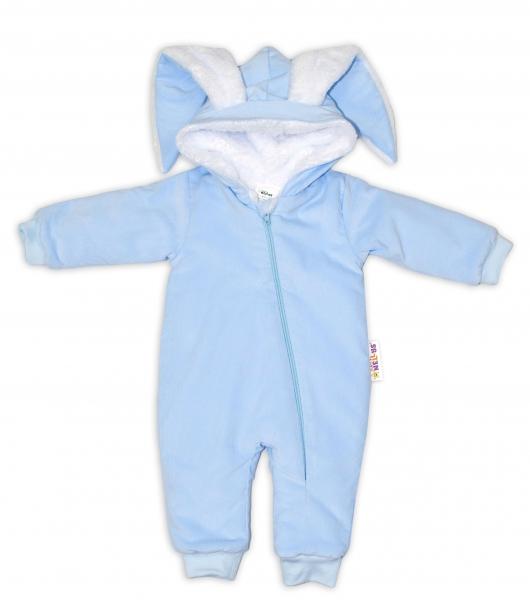 Baby Nellys Manšestrová kombinézka/overálek s kožíškem Cute Bunny - modrá