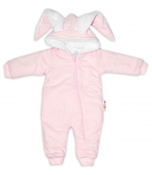 Baby Nellys Manšestrová kombinézka/overálek s kožíškem Cute Bunny - růžová