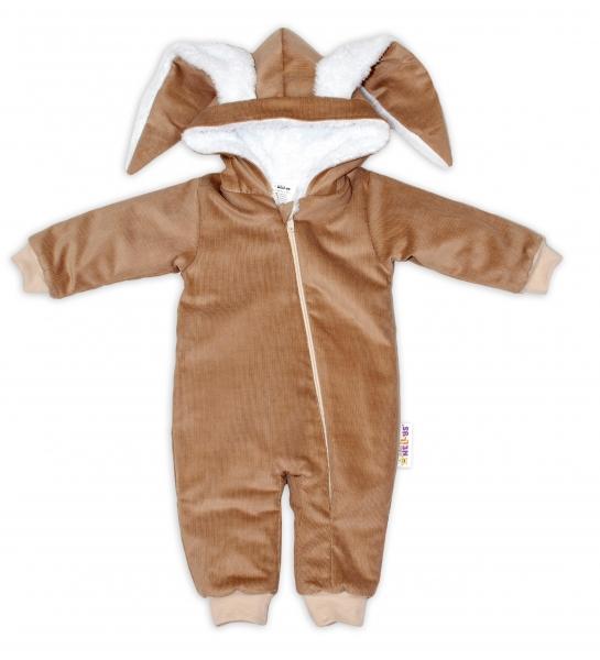 Baby Nellys Manšestrová kombinézka/overálek s kožíškem Cute Bunny - béžová, vel. 74/80