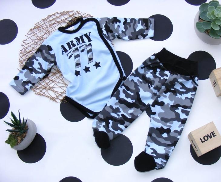 G-baby 2-dílná kojenecká sada Army - modrá, vel. 68