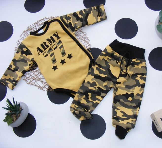 G-baby 2-dílná kojenecká sada Army - hořčicová, vel. 62