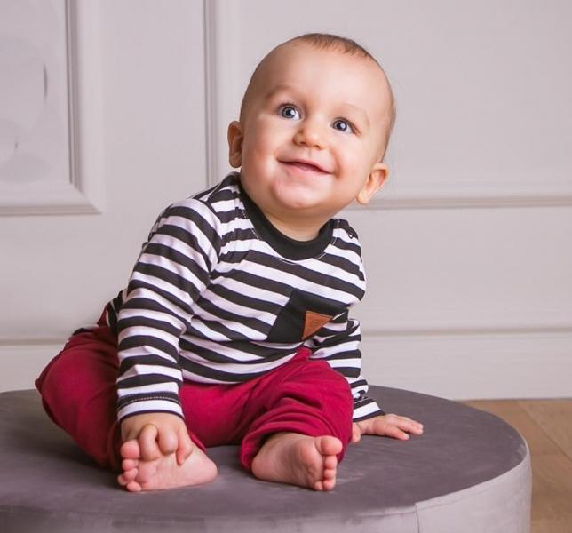G-baby 2-dílná kojenecká sada Boss s proužkem - vínová, černá, vel. 86
