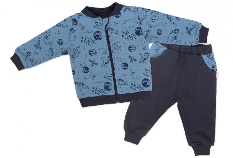 Mamatti Dětská tepláková souprava zapínání na zip Vesmír - modrá s potiskem, vel. 98