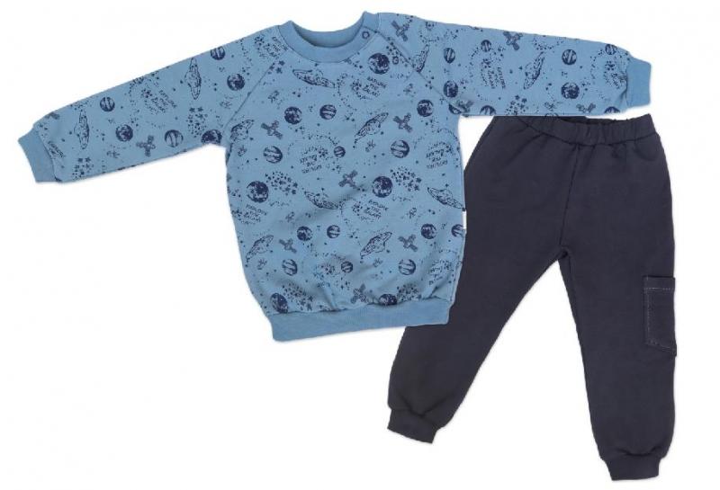 Mamatti Dětská tepláková souprava zapínání na boku Vesmír - modrá s potiskem, Velikost: 68 (4-6m)