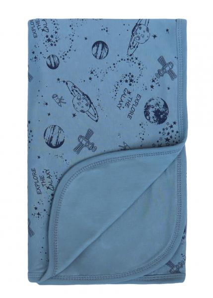 Mamatti Dětská oboust. bavl. deka,  80 x 90 cm, v dárk. krabičce Vesmír, modrá