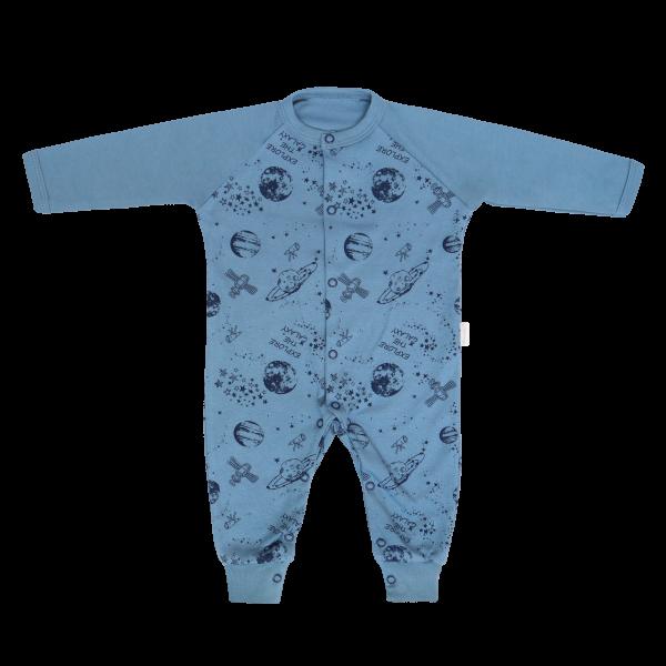 Mamatti Dětské bavlněný overal bez šlapek Vesmír, modrý s potiskem, vel. 86, Velikost: 86 (12-18m)
