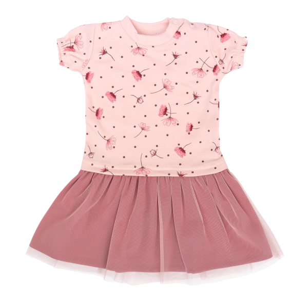 Mamatti Kojenecké šaty s týlem, kr. rukáv, Vlčí Mák - růžové, vel. 80