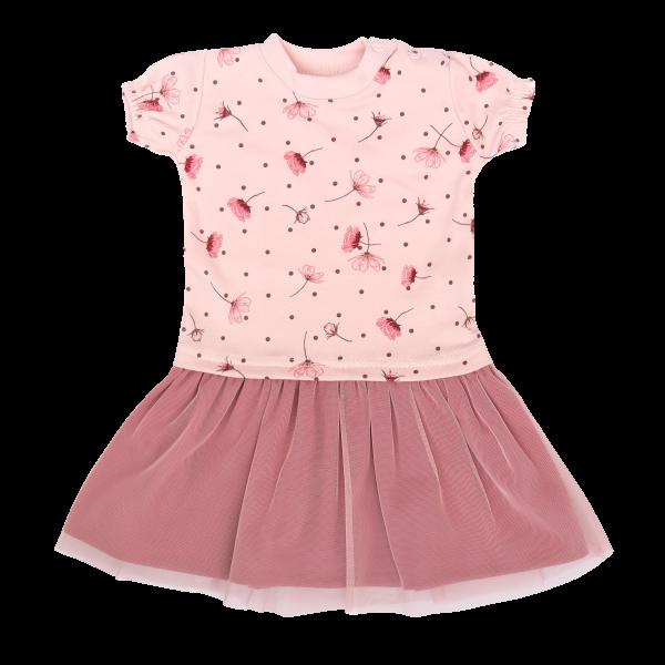 Mamatti Dětské šaty s týlem, kr. rukáv, Vlčí Mák - růžové, vel. 86