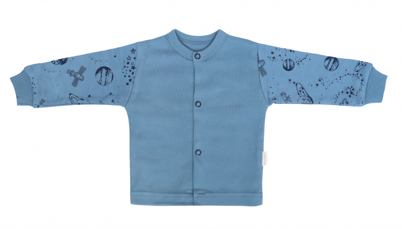Mamatti Novozenecká bavlněná košilka, kabátek, Vesmír - modrá s potiskem, vel. 56
