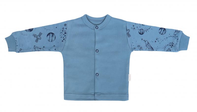Mamatti Novozenecká bavlněná košilka, kabátek, Vesmír - modrá s potiskem, vel. 74, Velikost: 74 (6-9m)
