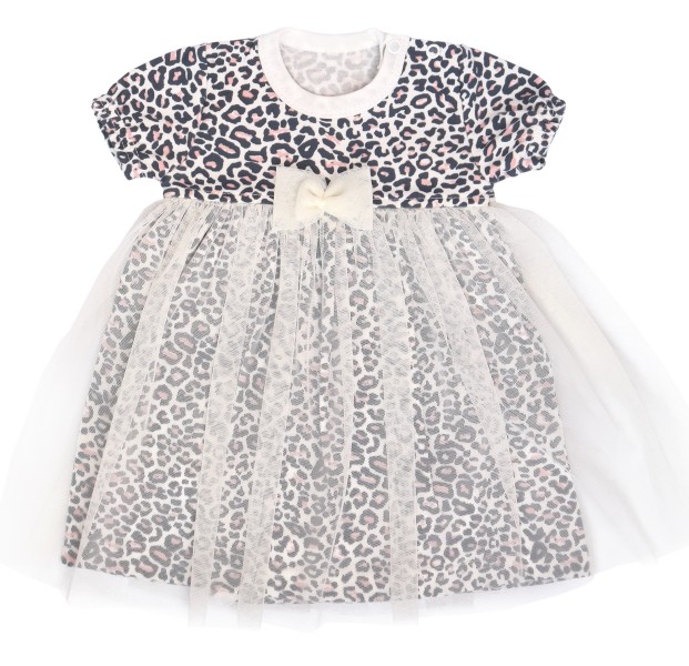 Mamatti Sukničkobody s týlem, krátký rukáv Gepardík - bílé se vzorem, vel. 68