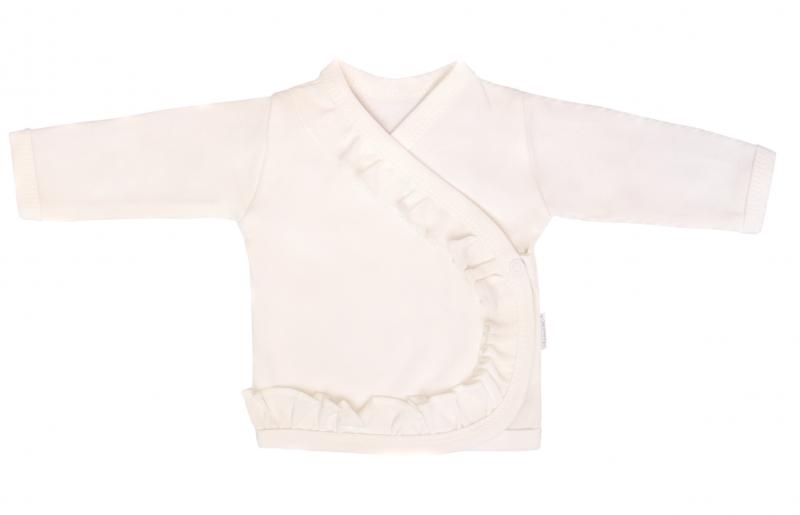 Mamatti Novozenecká bavlněná košilka, kabátek s volánkem Gepardík - bílá