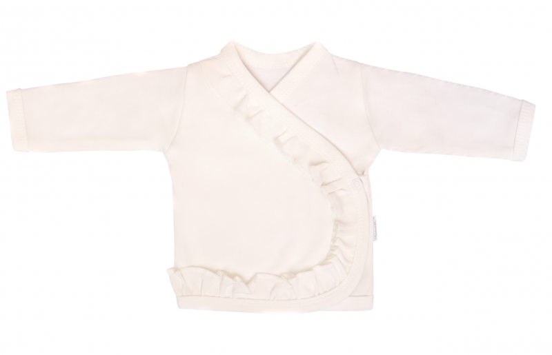 Mamatti Novozenecká bavlněná košilka, kabátek s volánkem Gepardík - bílá, vel. 62