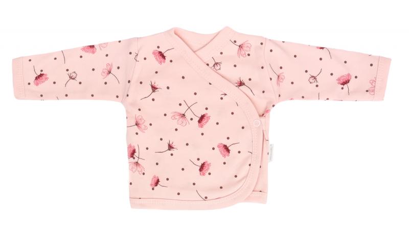Mamatti Novorozenecká bavlněná košilka zapínání bokem, Vlčí Mák - růžová s kvítky