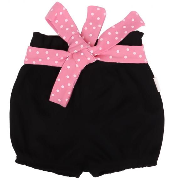 Mamatti Bavlněné kraťásky Princezna Puntík - černé s růžovou mašlí, vel.80