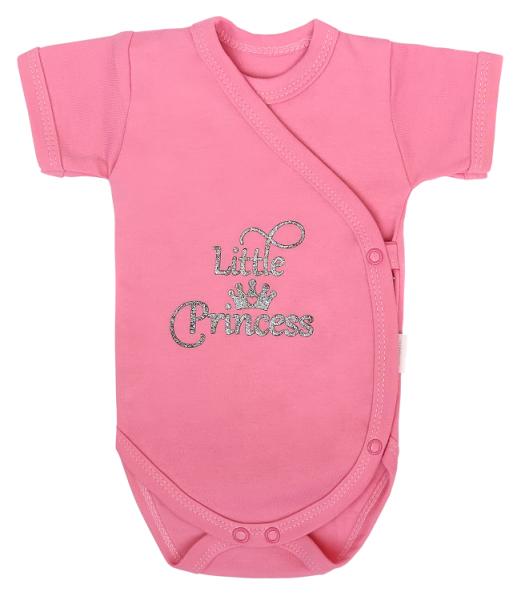 Mamatti Kojenecké body kr. rukáv, zap. bokem, Princezna Puntík - růžové s nápisem, vel.68, Velikost: 68 (4-6m)