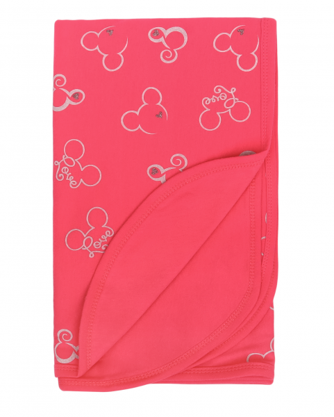Mamatti Dětská oboust. bavl. deka,  80 x 90 cm, v dárk. krabičce Myška - tm. růžová