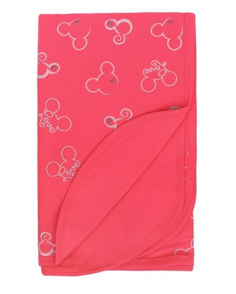 Mamatti Dětská oboustranná bavlněná deka, 80 x 90 cm, Myška - tm. růžová