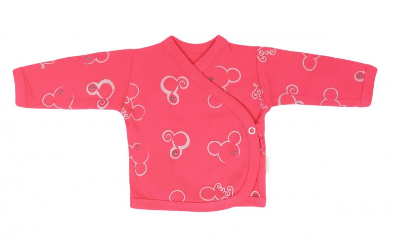 Mamatti Novorozenecká bavlněná košilka zapínání bokem, Myška - tm. růžová, vel. 56
