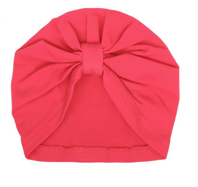 Mamatti Bavlněná  dětská čepice, turban, Myška - červená, vel. 2 - 3 roky