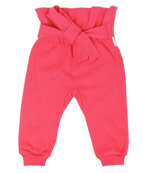 Mamatti Dětské tepláčky s ozdobným páskem, Myška - tm. růžová, vel. 92, Velikost: 92 (18-24m)