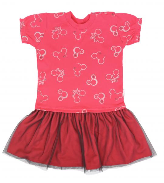 Mamatti Dětské šaty s týlem, kr. rukáv, Myška - červené, vel. 92