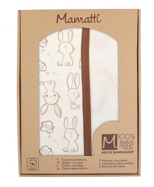 Mamatti Dětská oboust. bavl. deka,  80 x 90 cm, v dárk. krabičce Králíček - krémová, hnědá