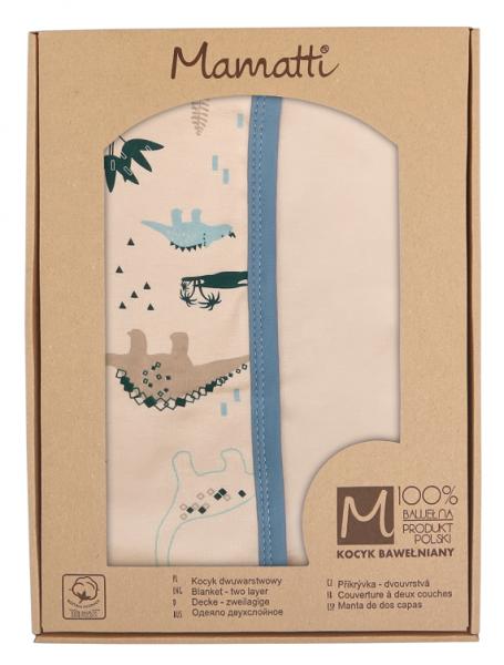 Mamatti Dětská oboust. bavl. deka,  80 x 90 cm, v dárk. krabičce Dinosaurus - krémová