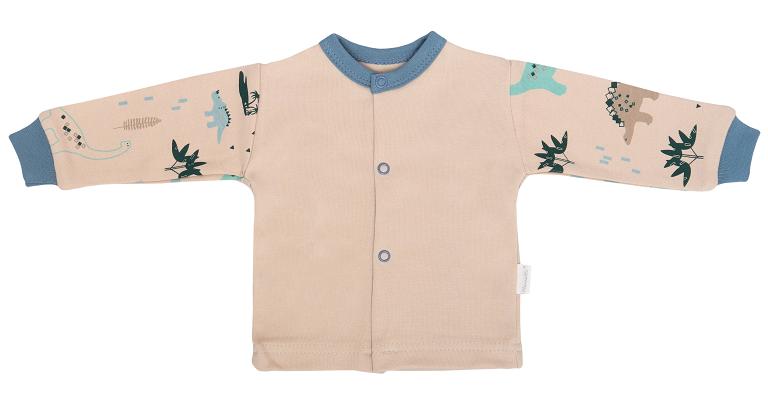 Mamatti Novozenecká bavlněná košilka, kabátek, Dinosaurus - krémová s potiskem