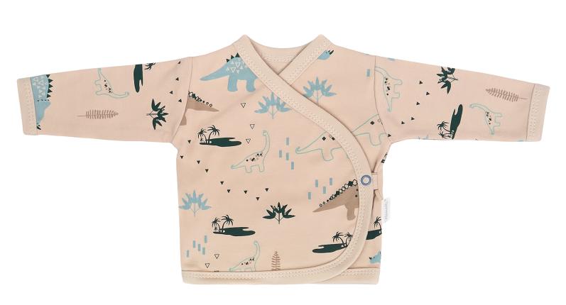 Mamatti Kojenecká bavlněná košilka zapínání bokem, Dinosaurus, krémová s potiskem