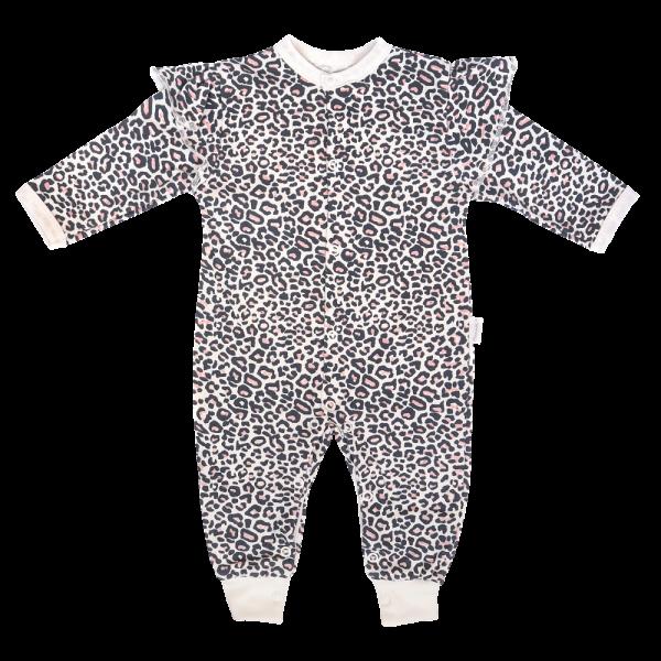 Mamatti Kojenecký bavlněný overal bez šlapek Gepardík, bílý se vzorem, vel. 74, Velikost: 74 (6-9m)