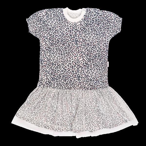 Mamatti Dětské šaty s týlem, kr. rukáv, Gepardík, bílé se vzorem, vel. 98